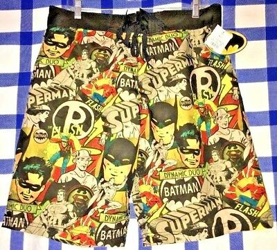 1dacae54c1e2 Bioworld DC COMICS BATMAN ROBIN SUPERMAN Swim Trunks Shorts Size LARGE L NEW