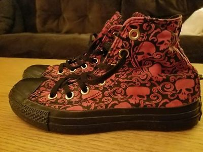 Converse High Tops Red And Black Skull Pattern Unique Rare Men 4