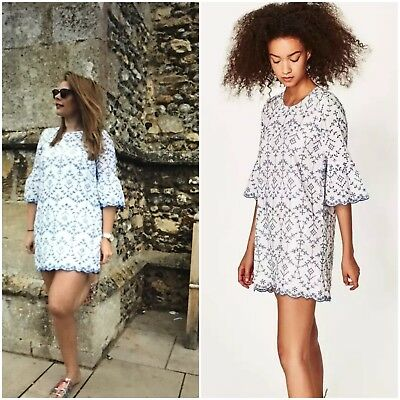 29a50eae Sold Out! Zara Cotton Eyelet Embroidery Bell Sleeve Dress White/Blue Size Xs .