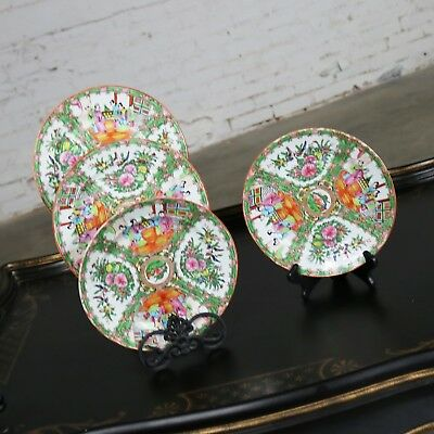 Antique Chinese Qing Rose Medallion Porcelain Nine Inch Plates Set of 4 Perfect