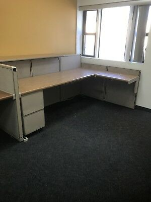 Steelcase Modular Office Cubicles (3) w/ Low Wall partitions & Desks & Drawers