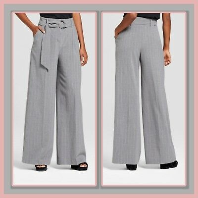 7a2ae3d762b NEW * MOSSIMO Womens PANTS Wide Leg PINSTRIPE Gray BELTED SZ 4, 6 ...