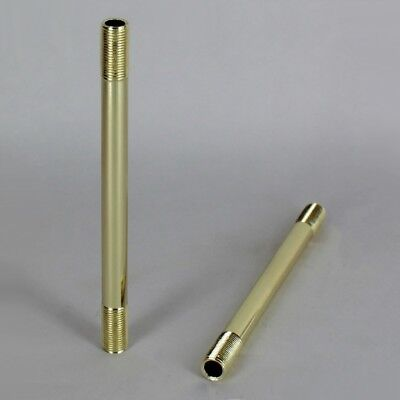 """1/8 IPS ~ POLISHED BRASS STRAIGHT LAMP PIPE ~ Threaded Steel { 2"""" to 24"""" long }"""