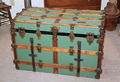 Antique Flat Top Steamer Trunk Coffee Table Storage Display Everlasting Lock Co.