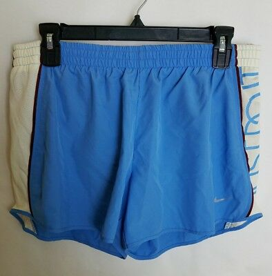NIKE Womens Large Blue Maroon Shorts Running Dri-Fit Tempo Just Do It Liner B10