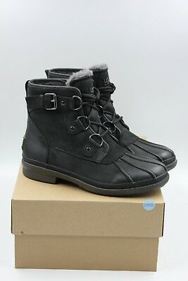 2ada4515622 UGG Authentic Cecile Women's Lace-Up Waterproof Boots Black Leather