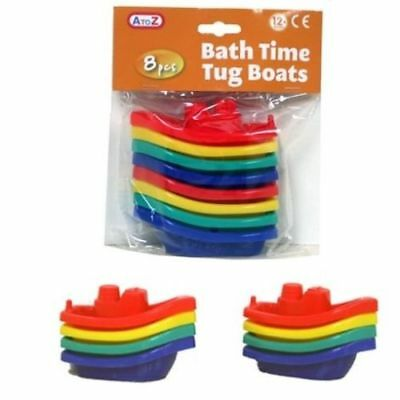 PACK OF 8 Bath Tub Time Boats for Kids Fun Floating Water Plastic Bathroom Toy