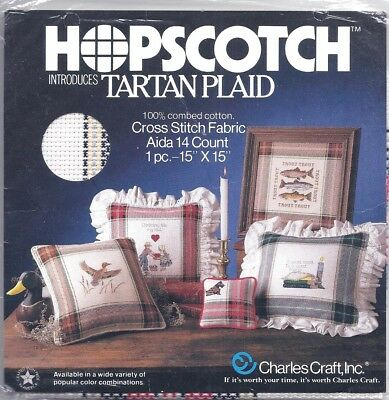 Hopscotch TARTAN Plaid Adia Cross Stitch Fabric 14 CT 15 X 15 Red Black SEALED