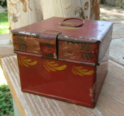 Rare Color & Form Antique Toleware Tin Spice Box Small