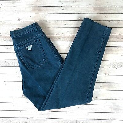 Vintage 80s GUESS Women's Size 30 Mom Jeans High Waist Teal Green Tapered Leg
