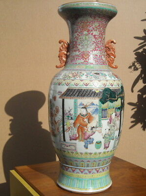 "HUGE antique CHINESE PORCELAIN 24"" VASE 19th century QING PERIOD GARDEN RED BATS"