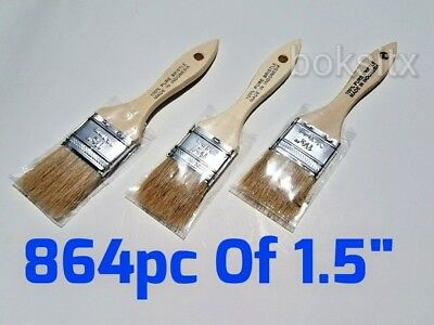 """864 Pc of 1.5"""" Chip Brush Natural Bristle Adhesives Paint Touchups 2 Inch"""