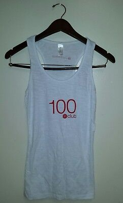 34155626758a6 Women s Pure Barre Pimatee White Red 100 P Club Racerback Athletic Tank Size   M