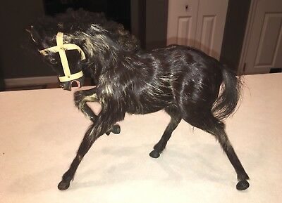 """Vintage Taxidermy Style Horse Figurine REAL HORSE HAIR TAIL 11.5""""x10"""""""