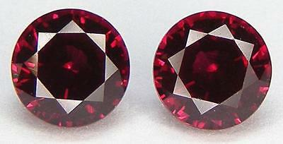 Matched Pair Of Excellent Cut Round 6.1 Mm. Pigeon Blood Red Ruby Lab Corundum