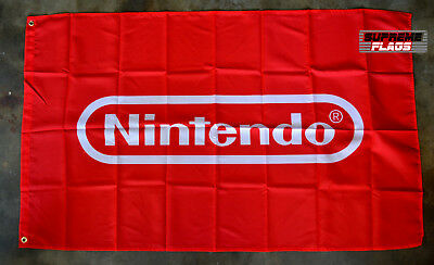 Nintendo Flag Banner 3x5 ft Video Game Gaming Wall Garage Red