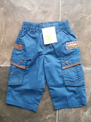 BNWT Baby Boy's Baby World Blue & Brown Cotton Pants Size 00