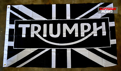 Triumph Flag Banner 3x5 ft Motorcycle Wall Garage Black