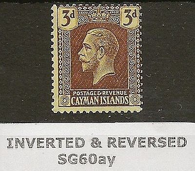 CAYMAN 1921-26 KGV 3d INVERTED &  REVERSED WMK  SG60ay CAT £160