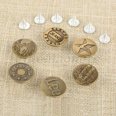17mm Random Pattern 50pcs Jeans Buttons 50pcs Nails Bronze for Shoes Boots bags