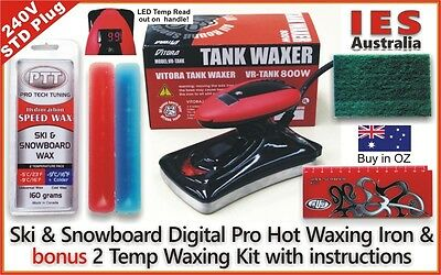 Ski & Snowboard Digital Hot Waxing Iron + Red/Blue 2 Temp wax Kit, DIY & save $
