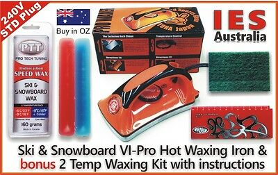 Ski & Snowboard Vitora VI Pro Hot Waxing Iron & Red/Blue 2 Temp Wax Kit, & Guide