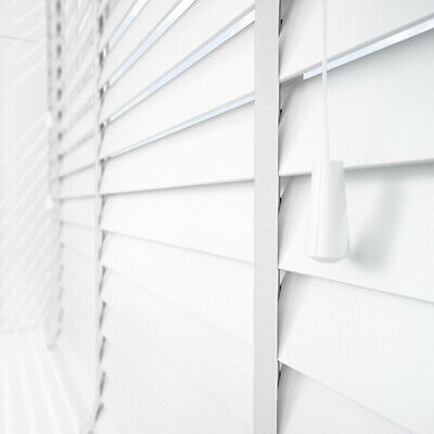 White Wood Venetian Blinds With Tapes - Wooden 50Mm Slats - Ready Made Sizes