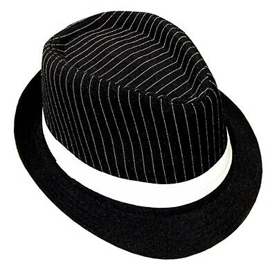 Black White Pinstripe Trilby Gangster Hat 1920s Mens Costume