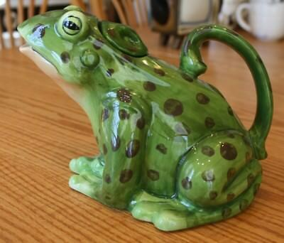 Whimsical Blue Sky Ceramics Green Lilypad Frog Teapot Clayworks Goldminc Gift