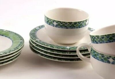 ROYAL DOULTON Modena 4 Trios Cups Saucers Side Plates Green 12 Pc EUC