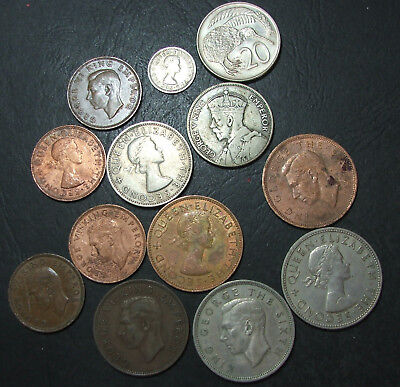 Lot New Zealand coins, 1933 - 1962, florins, half crown, penny, half,