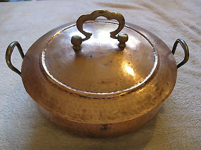 Antique Copper Serving Dish & Cover-Hammered Appearance-Cooking Collectible!!!