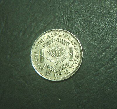 1942 South Africa 6d, sixpence