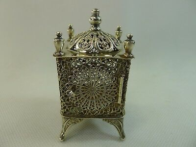 vintage beautiful Esco Sterling silver filigree Judaica besamim box / tower