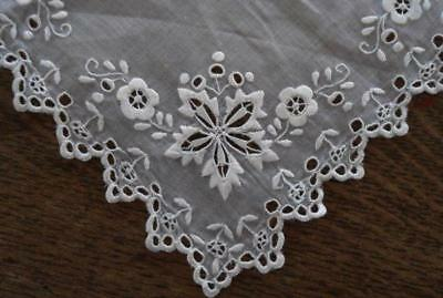 Vintage Organdy Plate Doily Whitework Broderie Embroidery Cutwork Square 8""