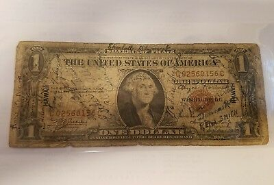 1935 Hawaii brown seal short snorter note silver certificate