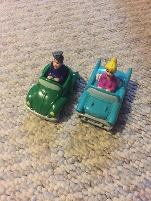 Three (2) Burger King 1991 Kids Meal Toys Archi Comics Wheeled Cars w/Figures