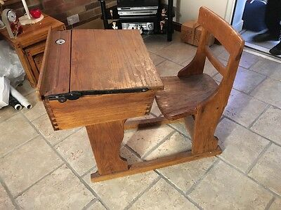 Vintage Antique Victorian Edwardian Childrens School Desk With Chair Inkwell