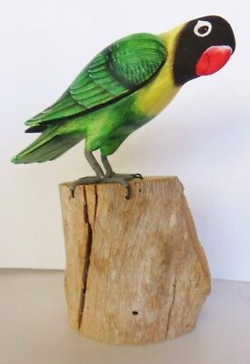 "8""  Lovebird Figurine Perched On Log Parrot, Green,carving ,wood ,signed"