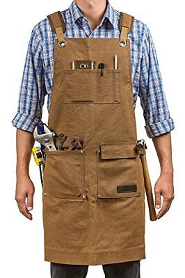 Luxury Waxed Canvas Heavy Duty Work Shop Apron with Pocket & Cross Back Straps