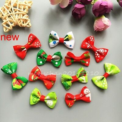 10X New puppy Xmas chrismas mixed dog hair bow clips/rubber bands pet hairpins