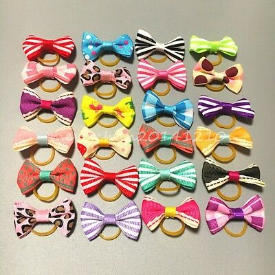 20Pcs/lot Pet Hair Bows colorful Rubber Bands puppy Dog Cat Bowknot Hair rope