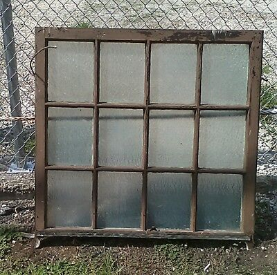 Huge Antique (12) Pane Window Florentine Privacy Glass Architectural Salvage
