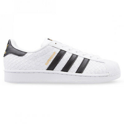 ADIDAS ORIGINALS SUPERSTAR Weave White Black Gold Mens