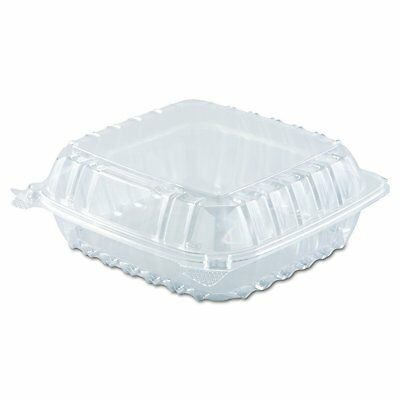 """Dart Solo Dart 8"""" x 8""""x 3"""" Clear Plastic Hinged Food Take-Out Container"""