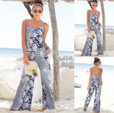 Plus Size Women Floral Pocket Holiday Long Playsuits Dress Trouser Jumpsuit 6-18