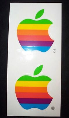 Vintage Apple Mac Computer Rainbow Logo Decal Sticker-Free Shipping