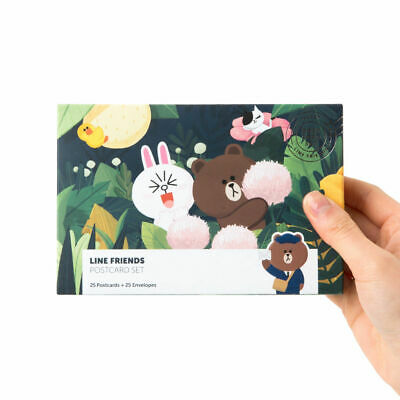 LINE Friends Character Post Card Set 25pcs Communicate Heart To Message