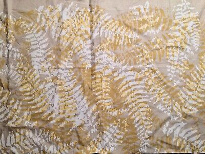 HAND BLOCKED LINEN Ferns natural yellow white new remnant