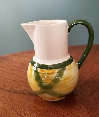 "Vernonware Gingham Pattern Bulb Shaped 5 "" Pitcher or Jug"